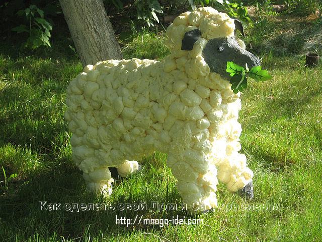 Сделать овечку из пенопласта