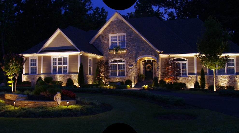 Подсветка загородных домов фото